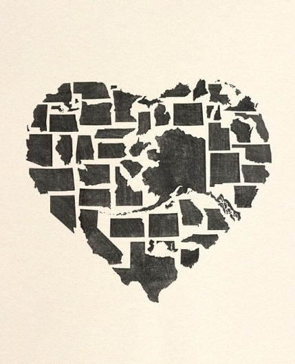 FOR MOLLY by beauchamping on Etsy #heart #usa #states #poster