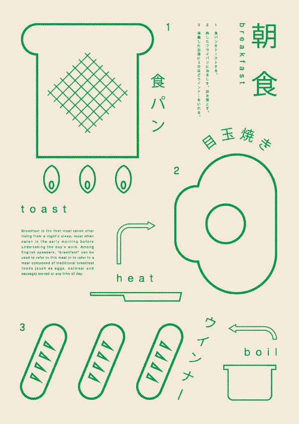 Japanese Graphics: Making Breakfast. Ryo Kuwabara. 2013 #print