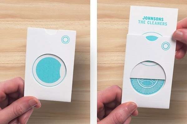 Johnsons the Cleaners | Identity Designed #die #cut #business #color #letterpress #illustration #one #cards