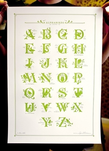 Jessica Hische — Alphabirds Print #type #alphabet #hische