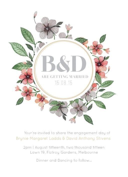 Floral Circle Invitation Set - Engagement Invitations #paperlust #engagement #invitation #engagementinvitation #design #floral #digitalcard