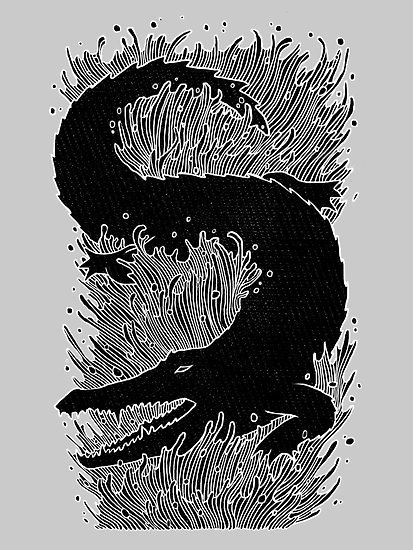 Black crocodile #crocodile #artistic #illustrative #design #graphic #awesome #animal #waves