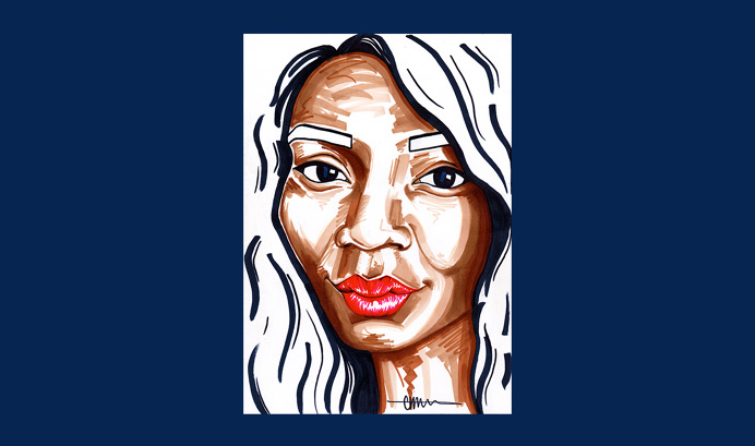 Ifee for 'Birthday Special' series by Chiamaka Ojechi #illustration #navy #redlips #markers #promarkers #minimal