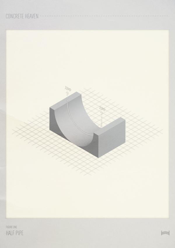 Concrete Heaven - Hadrien Degay Delpeuch #print #poster #paper #skate #isometric #skateboard #concrete #skatepark