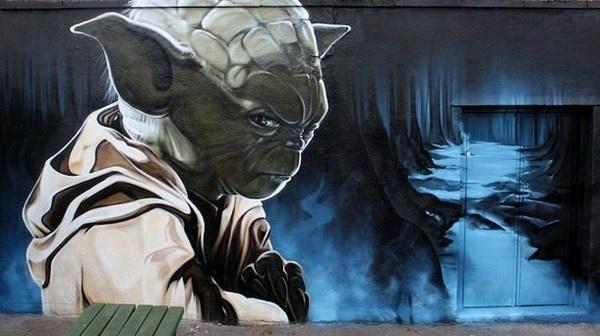 Yoda graffiti street art