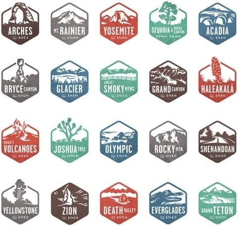 FFFFOUND! | Design Work Life » Valerie Jar: National Park Stamp Icons #stamps #logos