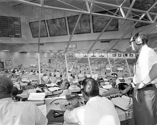 All sizes | Apollo Director Phillips Monitors Apollo 11 Pre-Launch Activities | Flickr - Photo Sharing! #glass #nasa #monitors #space