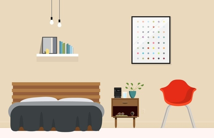 Bedroom – Nathan Manire #retro #icons #theme #illustration #vintage #midcentruy #decoration #modern #design #color #geometric #series #end #lounge #room #eames #flat #soundfreaq #bed #table #interior #chair #bedroom #decor #home #simple