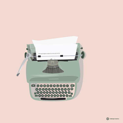 "Strong fingers make for strong mindsCabbage Creative6"" x 6"" limited edition printAvailable here #strong #creative #vector #fingers #cababge #minds #yesteryear #typewriter"