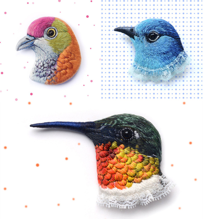 Lifelike Bird Pins Embroidered by Paulina Bartnik | Colossal