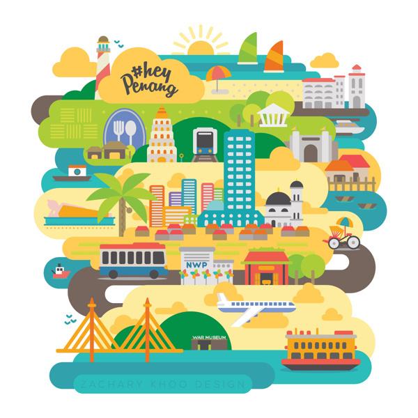 HashTag Hey Penang #tourism #campaign #malaysia #illustration #penang #media #social