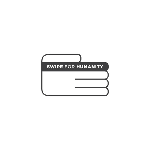 Swipe for Humanity logo #profit #sustainable #non #credit #helping #icon #card #payment #color #charity #npo #simple #minimal #one #logo #hand #money