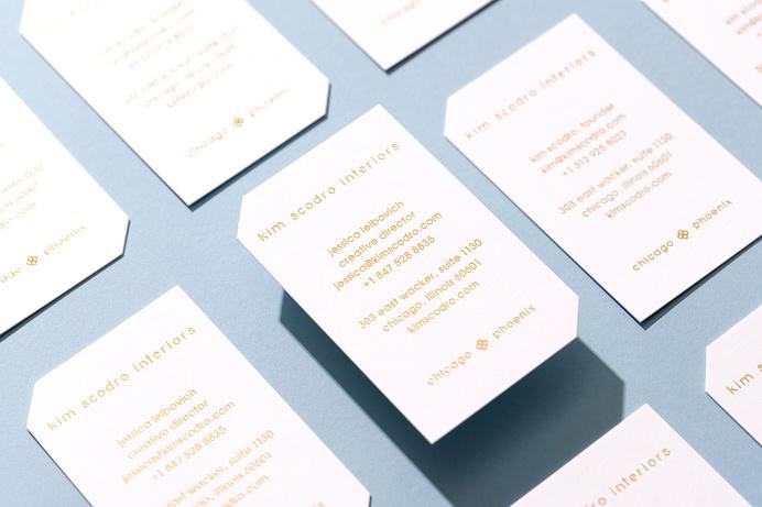 Knoed Creative / business cards for interior design studio / die cut corners and gold foil stamp #printdesign #businesscard #foilstamp