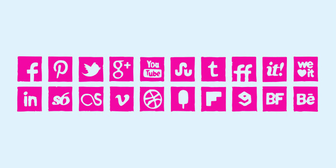 Pink Ink Icons Set #pink #icons #social
