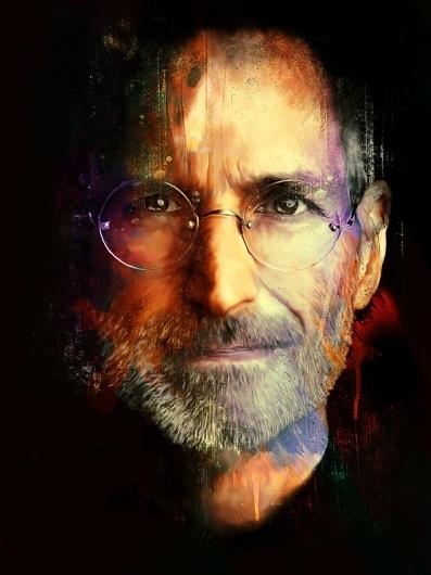 Steve Jobs on the Behance Network #steve #apple #jobs #portrait #painting #mac