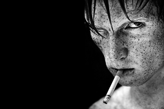 The Dark Side of The Portrait Photography :: koikoikoi.com - Visual Arts Magazine, graphic design, illustration, photography, interviews, inspiration, #white #cigarette #black #photography #portrait #and