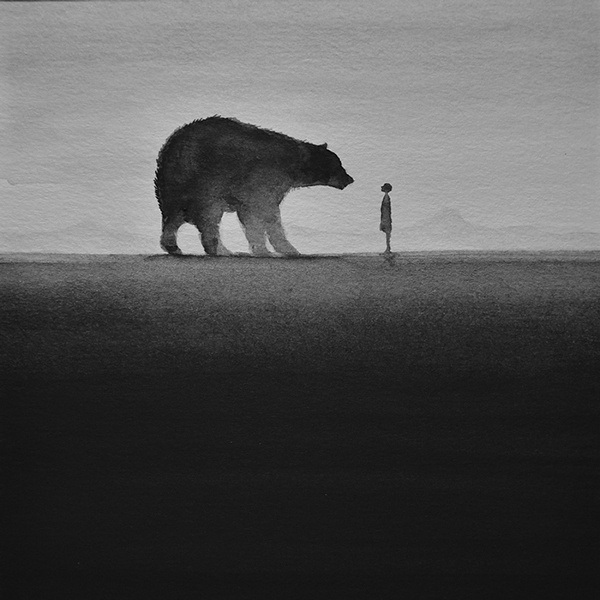 Dreamy Black and White Watercolors by Artist Elicia Edijanto #bear