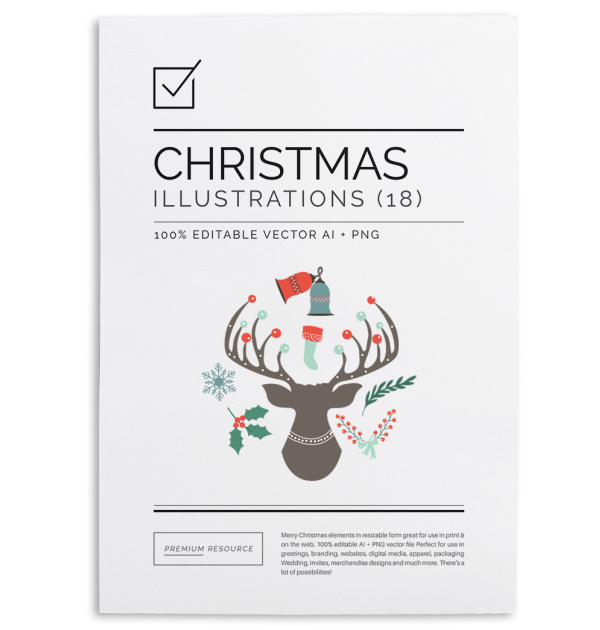 Merry Christmas Clip Art & Illustrations Set $9.00 This neat Christmas illustration/clip art set can help you design your christmas & new ye