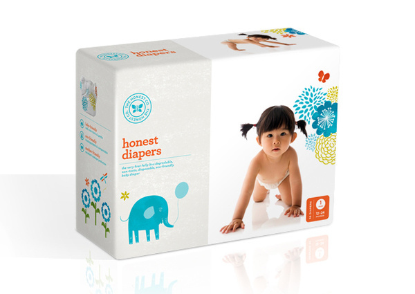 Honest Company DiapersHonest Co diapers are the very first fully bio degradable, non toxic disposable diaper. #packaging #design #mint
