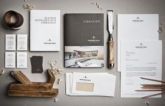 Mareiner Holz - corporate identity & design on the Behance Network #stationary #branding #print #logo #still #life