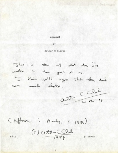 Letters of Note: siseneG #clarke #c #note #hand #writing #arthur #paper