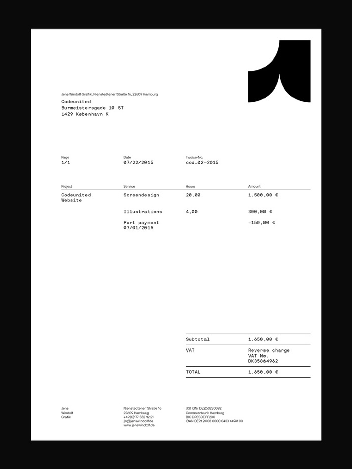 Jens Windolf by Jens Windolf #invoice #stationery