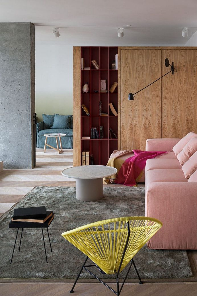 Modern Concrete Apartment Softened By The Wooden Notes in Kiev 3