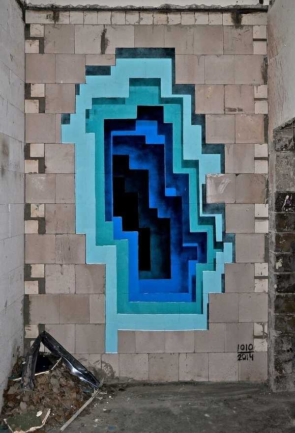 3D Graffiti - Super Punch #urban #layers #sculpture #illusion #installation #graffiti #design #geometric #wall #art #exterior