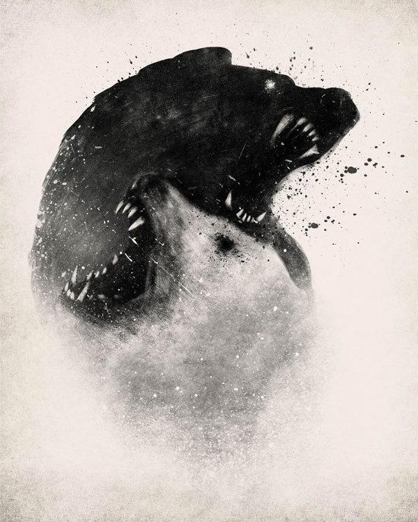 Yinyang Polar Bears by Dan Burgess #white #negative #black #space #illustration