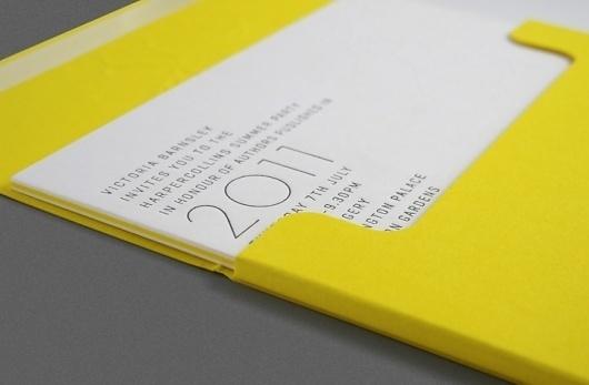 HarperCollins Invite 2011 | Work | One Darnley Road - Design + Digital #invitations #letterpress #typography
