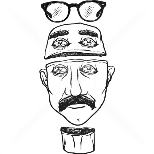 Mustache Dude #glasses #vector #white #dude #head #black #mustache #stock #illustration #and #fashion #man #sketch
