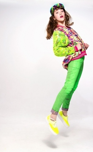 Lookbook - Bethan Heslop —Graduate Collection #model #pink #neon #print #jeans #varsity #sportswear #hat #fashion #green