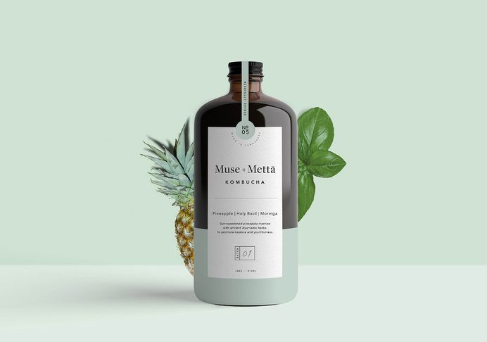 Kati Forner designed the minimalist branding and packaging for Muse+ Metta Kombucha. More than a beverage, Muse+Metta is designed to reflect a culture of health, art, and possibility. The colour of the labels for each flavour complements the flavour's ingredient profile. For more of the most beautiful designs visit mindsparklemag.com