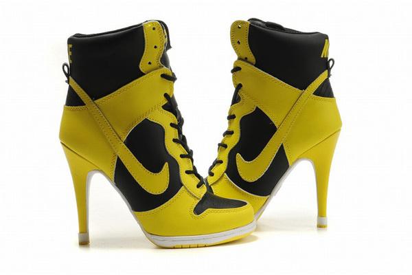 Nike Dunk SB High Heels Black/Yellow #shoes