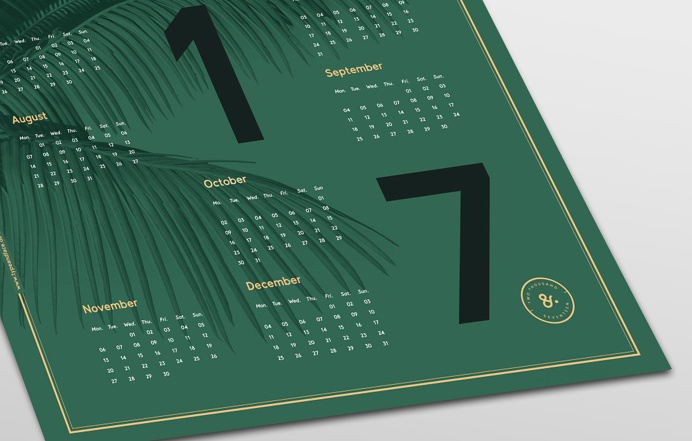 New beautiful dark green poster 2017 calendar poster in the size of 50 x 70 cm with nice big bold typography and golden golden and peach col