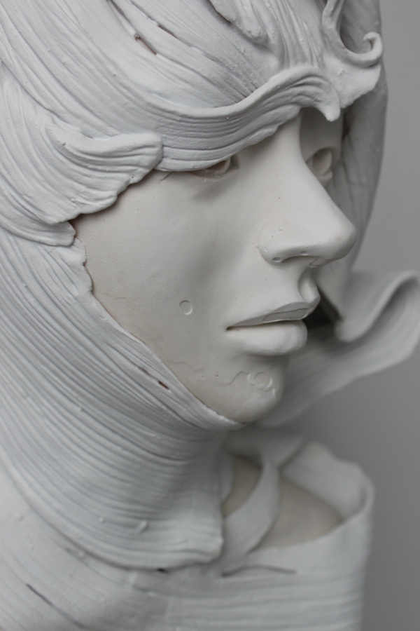 Delicately Sculpted Busts by Gosia #computer #sculpture #white #girl #generated #digital #bust #portrait #3d