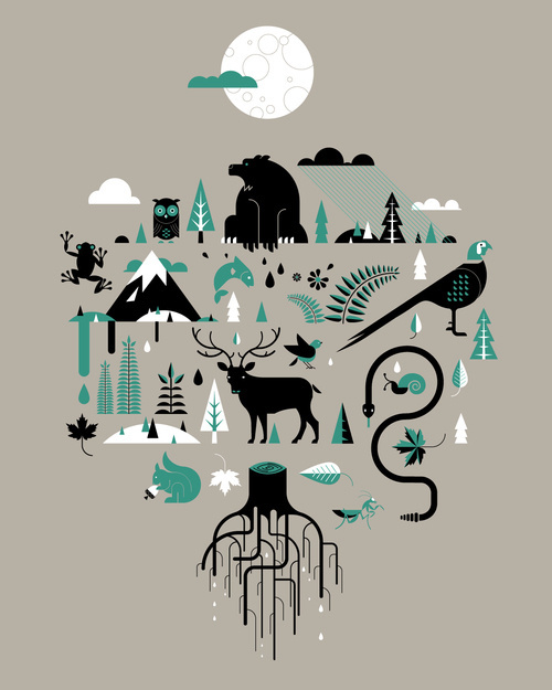 My forest Friends. #rattle #owl #bird #snake #snail #bear #forest #trees #frog #moon