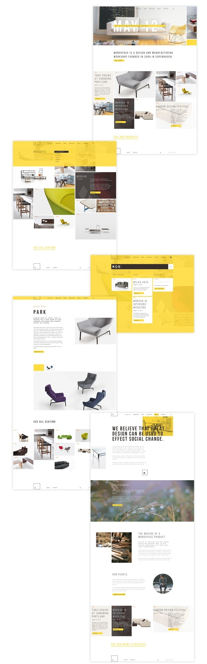 Monospace website concept #grid #white #yellow #interior #website #web #responsive #furniture #niketo #saint-petersburg #russia