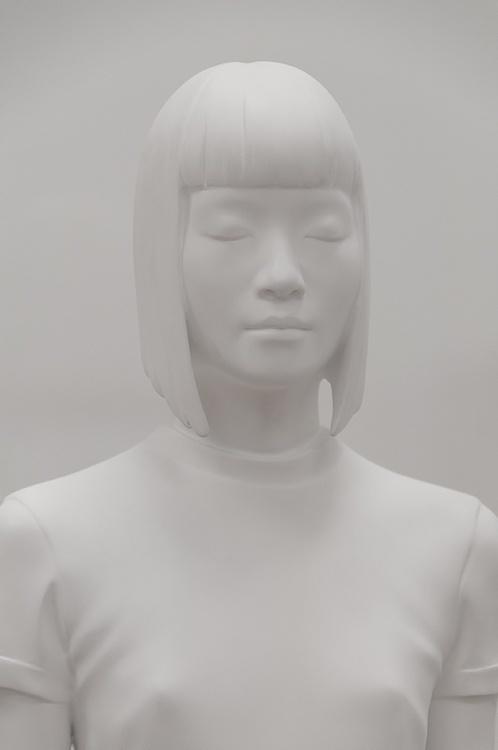 white on white model statue