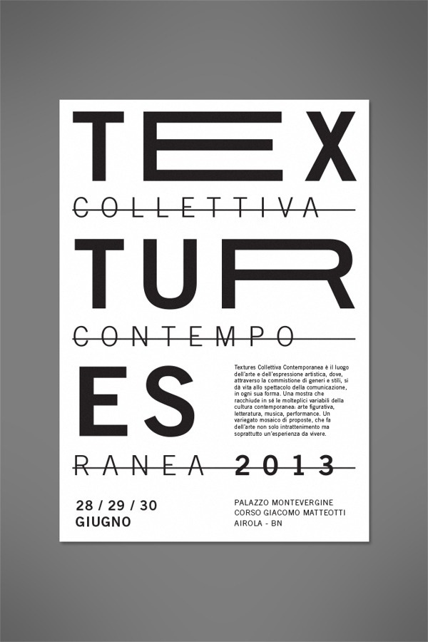 Textures 2013 #white #black #exhibition #minimal #poster #art #layout #typography