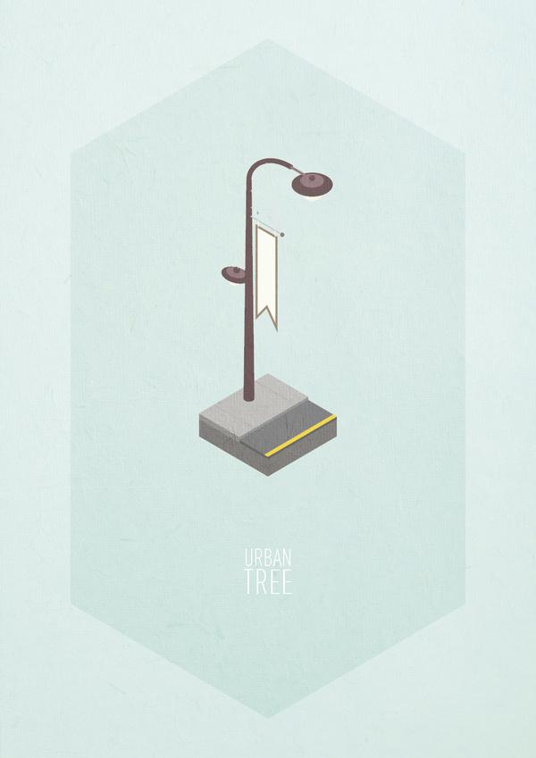 Urban Trees #urban #print #paper #illustration #poster #light