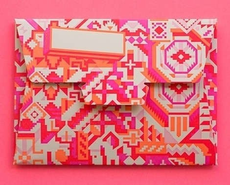 ♥ GRAPHISM & FONTS / aerograms from the hungry workshop #aztec #pattern #envelope #neon