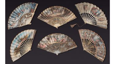 Six fans painted vellum and ivory silver-tone openwork decoration, silvered and gilded, representing scenes galantes and mythological.