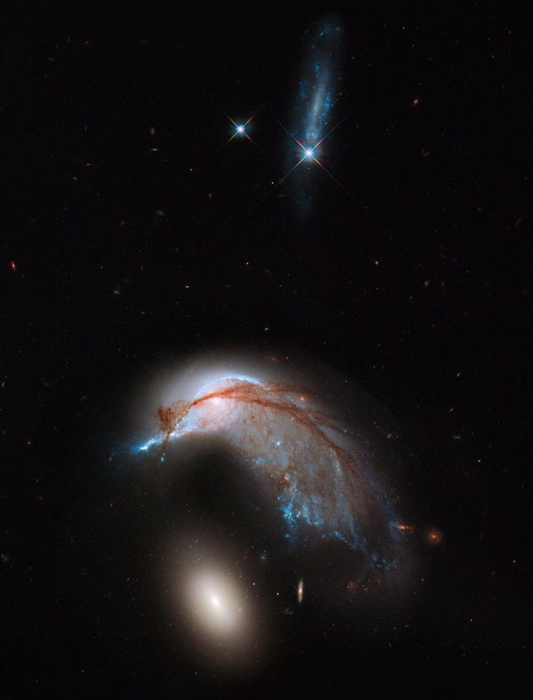 CJWHO ™ (Galaxy Crash Spawns Space Penguin in Hubble...) #amazing #telescope #crash #hubble #nasa #space #galaxy #penguin