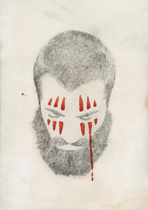 Lamono Magazine - Tom Dilly Littleson #gore #handdrawn #beard #drawing #illustrations #texture #cover #hair #illustration #portrait #pencil #paper #detail #magazine
