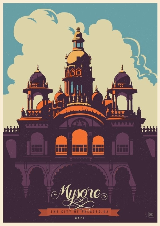 Travel Postcards & Posters of Karntaka India #india #travel #illustrations #posters #postcards