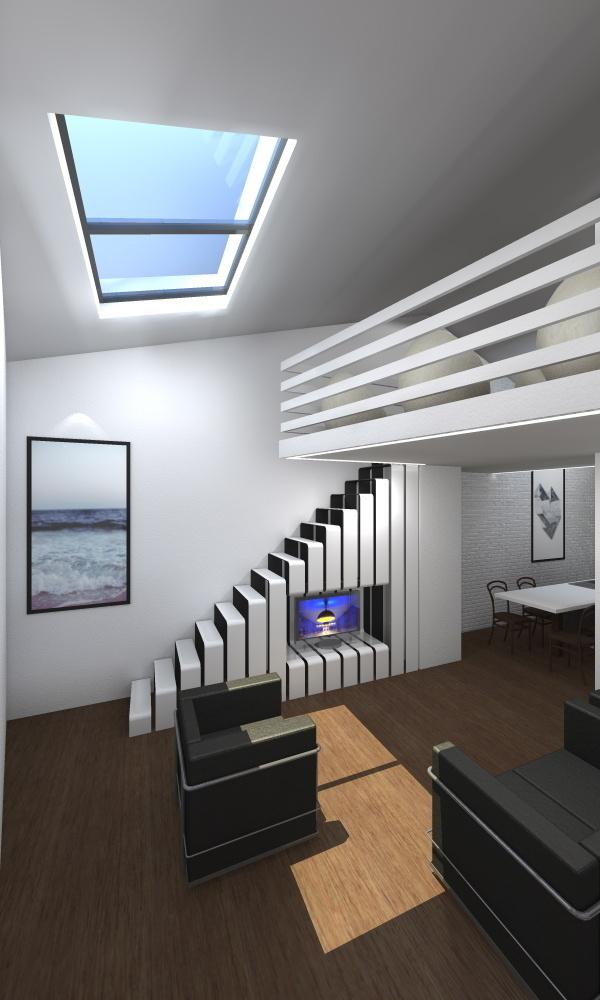 AS House #interior #white #steep #design #minimal #studio #stair #skylight