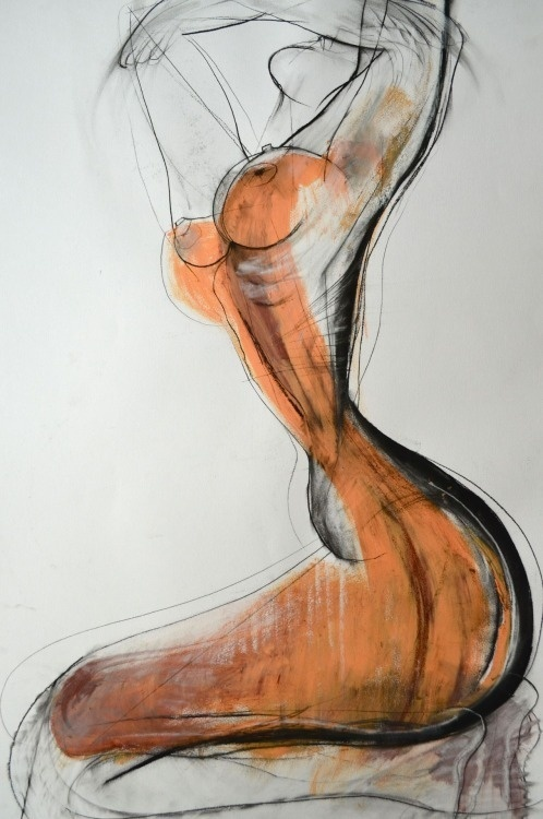 Drawing by Carmel Jenkin Spiritdance, charcoal and acrylic on paper, 81cm x 57cm Such a wonderful feeling when the spirit is free and releas #form #pose #woman #nude #breasts #anatomy #female #illustration #art #life #drawing #naked