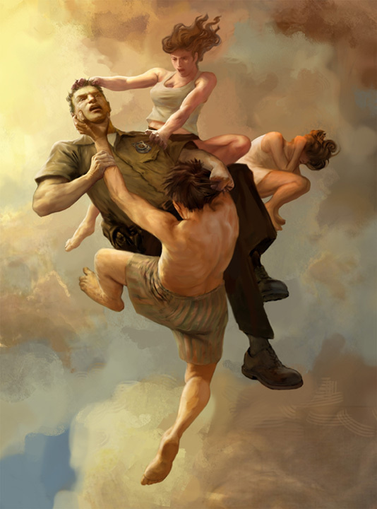 Artwork for HBO's The Leftovers by Jon Foster #leftover #conflict #ceiling #cloud #war #fall #digital #illustration #art #fight