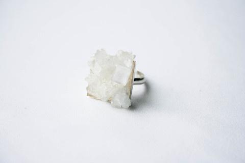 "SafÄ""da #cluster #white #crystal #silver #design #pulse #prallel #jewelry #translucent"
